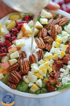 Harvest Cobb Salad - The perfect fall salad with the creamiest poppyseed salad dressing. So good, you'll want to make this all year long!