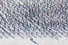 Around 12,000 competitors skied along near Maloja, Switzerland, during the annual Engadin Ski Marathon Sunday. (Alessandro Della Bella/Keystone/Associated Press)