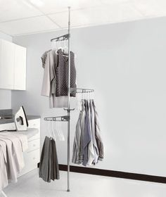 New Adjustable Tension Mounted Clothes Drying Pole Rack Laundry Room Organizer in Home & Garden, Household Supplies & Cleaning, Laundry Supplies | eBay