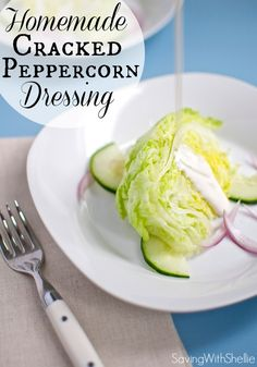 Fresh, yummy Homemade Cracked Peppercorn Salad Dressing. Why buy it when you can make your own with 5 ingredients. #recipe