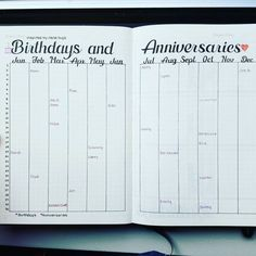 Birthday Tracker and Anniversary Tracker in a Bullet Journal. Get organized and conquer your day with 15 BULLET JOURNAL Bullet Journal Birthday Tracker, Bullet Journal 2019, Bullet Journal Inspo, Bullet Journal Spread, Bullet Journal Ideas Pages, Bullet Journal Layout, Journal Pages, Bullet Journal Health, Bujo