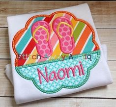 Flip Flop Scallop Applique - 4 Sizes! | What's New | Machine Embroidery Designs | SWAKembroidery.com Stitch Away Applique