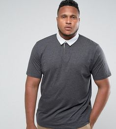 ASOS PLUS Rugby Polo Shirt In Charcoal - Gray
