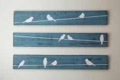Arte de pared rústico pájaros en un alambre 3 por HomeFrosting