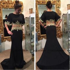 2016 Fake Two Piece Prom Dresses Black and Nude Sheer Waist for Sexy Girls Formal Dance Wear Sale Cheap Long Mermaid Evening Party Gowns New