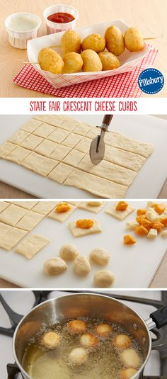 DIY Cheese Curds wrapped in crescent dough and deep fried! This is an easy way to create a State Fair favorite right in your own home.