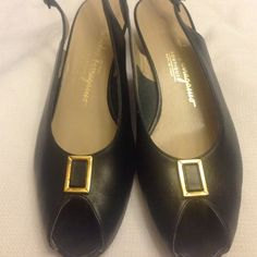 Salvatore Ferragamo Boutique Size 9, Black patent sling back, peep toe heels, excellent condition, minimal wear on sole, minor scuff (barely visible) on outer right heel. Salvatore Ferragamo Shoes Heels