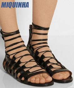 94.23$  Buy here - http://ali1aq.shopchina.info/go.php?t=32808797473 - MIQUINHA Summer Fashion Open Toe Women Lace Up Sandals Cut Out Style Ladies Flat Sandals Zipper Back Female Dress Sandals Size42 94.23$ #aliexpressideas