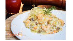 Risoto de camarão com cogumelos castanhos
