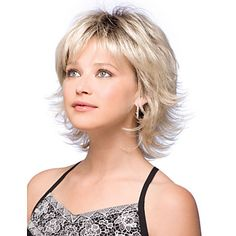 wig curly on sale at reasonable prices, buy High Quality Cheap Synthetic Short Curly Hair Wig Two Tone Dark Roots Blonde Ombre Wigs with Bangs Perruque Pelucas Sinteticas from mobile site on Aliexpress Now! Shaggy Short Hair, Short Shag Hairstyles, Short Layered Haircuts, Wig Hairstyles, Short Wavy, Layered Bobs, Short Blonde, Medium Blonde, Medium Layered Hairstyles