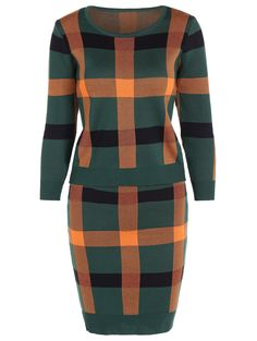 6ad79cef99ee Color Block Checked Sweater and Asymmetric Skirt Short Dresses