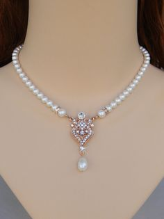 Rose Gold Bridal Necklace Bridal Jewelry Pearl by CrystalAvenues, $70.00