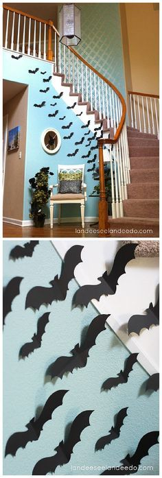 Fun idea for your entryway or front porch! Create a wall of BATS for your spooktacular Halloween Party lair!   Landeelu - Spooktacular Halloween DIYs, Crafts and Projects - The BEST Do it Yourself Halloween Decorations
