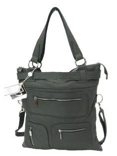 Borsa donna in vera pelle. Da utilizzare sia a spalla mediante l'ampio manico o a tracolla. color grigio.