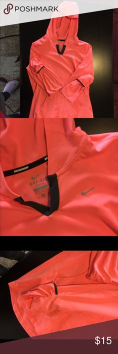 NIKE dri-fit hoodie This is a lightweight hoodie meant for running, it is a coral color! Will negotiate on the price(: Nike Tops Sweatshirts & Hoodies