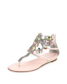 Rene Caovilla Crystal-Cage Karung Sandal, Pink