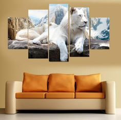 5 Pcs Unframed White Lion Animal Oil Painting on Canvas Wall Art Hanging Picture by Number Fashion Home Decor #Affiliate