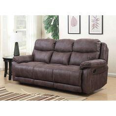 Global Alexander Dual Lay Flat Reclining Sofa with Memory Foam Seat Topper, Grey #RecliningSofa