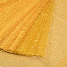 Handwoven Half and Half Yellow Linen Organza Saree With Pearl Embellishments by Sailesh Singhania 10010874 - AVISHYA.COM