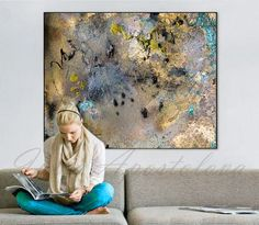 50'' Huge Contemporary Gold Painting Watercolor
