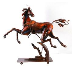 Benzara Urban Port Red/Black/Beige Metal 'Flying Horse' Sculpture (Multi Color) (Iron)