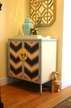 GORGEOUS SHINY THINGS: love this remade retro cabinet. and LOVE the chevrons!