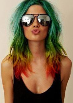 kolorowe włosy, włosy pasemka kolorowe