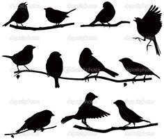 Silhouettes bird on a branch — Stock Vector © Julia Urchenko #