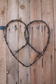 large barbed wire handmade heart wall decor