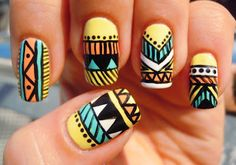 Tribal Aztec nail art on yellow base --China Glaze: Lemon Fizz, Peachy Keen, Aquadelic, Inglot 38, black acrylic nail paint, Seche Vite top coat