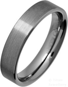 5mm Comfort Fit Brushed Tungsten Carbide Wedding Band Ring