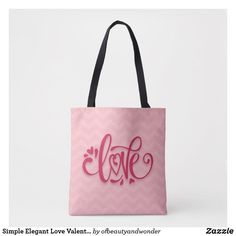Simple Elegant Love Valentine's Day   Tote Bag Love Valentines, Edge Design, Personalized Products, Reusable Tote Bags, Elegant, Stylish, Simple, Classic, Top