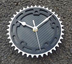 BMX gear wall clock cycling wall workshop clock - Silver & black carbon fiber OOAK guys bike gift