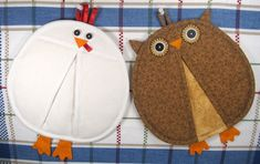 Chicken and Owl Pot Holders/Pot Pinchers | YouCanMakeThis.com