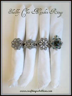 Crafting Rebellion: Shabby Chic Napkin Rings.  Use old pendants and shower curtain rings