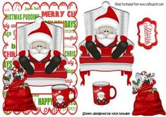 Santa having a snooze in his chair on Craftsuprint - Add To Basket!