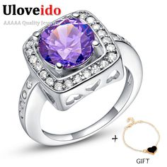 Find More Rings Information about Uloveido Semi Joias My Orders Purple CZ Diamond Joyas,New Engagement Crystal Ring with Silver Plated,Fashion Women Jewelry J475,High Quality ring plastic,China ring bouquet Suppliers, Cheap ring necklace from Ulovestore Fashion Jewelry on Aliexpress.com