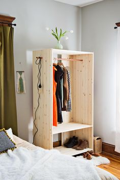 Modern Wooden Wardrobe DIY - A Beautiful Mess Adjust the measurements to make this child sized, and you have the perfect DIY wardrobe for a Monte Boys Bedroom Furniture, Diy Furniture, Modern Furniture, Bedroom Ideas, Modern Decor, Diy Wardrobe, Wardrobe Design, Wardrobe Clothing, Clothing Armoire