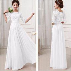 Plus Size Mid-Sleeve Chiffon Lace Dresses Maxi Summer Dresses Vestido de festa Brasil
