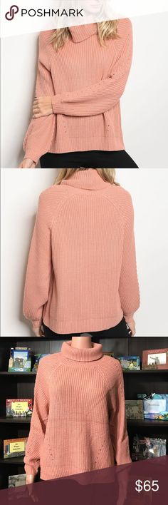 Blush Colored Knit Sweater with Cowl Neck Be stylish with this blush colored knit sweater with a cowl neck. Perfect match for your jeans or legging and your boots!   Long sleeves; chunky rib knit; cowl neckline  Fabric Content: 65% ACRYLIC 20% POLYESTER 15% NYLON  Measurements: Sweaters Cowl & Turtlenecks