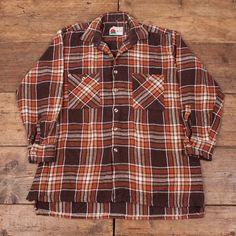 Mens Vintage Bonart Brown Wool Plaid Check Lumberjack by Holdwest