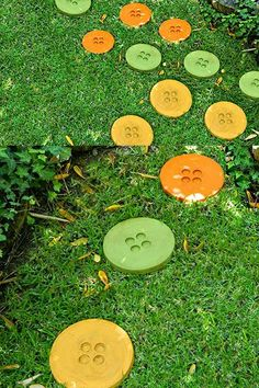 DIY Button Stepping Stones for Your Garden #garden #path----This would be neat to put these leading to the back door of the house that comes into my craft room!