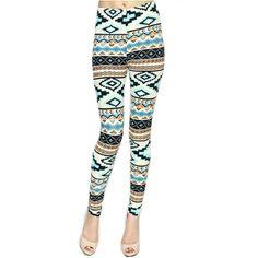Aqua Mint Blue Green Summer Leggings Tribal Aztec Pattern Yoga... (268.865 IDR) ❤ liked on Polyvore