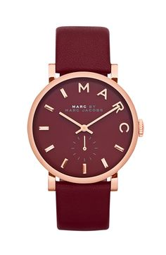 MARC BY MARC JACOBS 'Baker' Leather Strap Watch, 37mm | Nordstrom