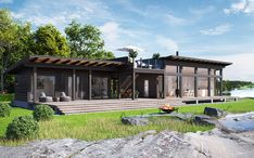 Home - Pluspuu talot Outside Living, Summer Kitchen, Ceiling Windows, Maine House, Log Homes, Living Spaces, Pergola, Exterior, Outdoor Structures