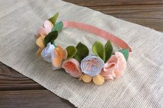 Felt Flower Crown // Peach White  Tan // Garden by fancyfreefinery, $20.00