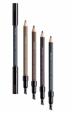 Shiseido Eye Brow pencil is deep brown! I've used since 10th grade. Doesn't smudge when you sweat, looks natural. $16.00
