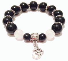 Om Gemstone Bracelet - Black Onyx Bracelet - Om Bracelet - Beaded Om Bracelet - Elastic Bracelet - Snow Quartz - Yoga Bracelet - Om Jewelry by OurUniverseShop on Etsy
