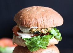 These veggie burgers are really tasty with a great texture and a little crunch. The lemon tahini dressing is so quick to whip up and is the ideal sauce for these patties.