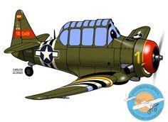 Fundación Aérea de la Comunidad Valenciana Aviation Humor, Aviation Art, Cartoon Plane, Vintage Airplanes, Texans, World War Ii, Painting & Drawing, Aircraft, Digital Art